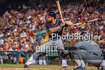 22 July 2016: Washington Nationals infielder Daniel Murphy in action against the San Diego Padres at Nationals Park in Washington, DC. The Padres defeated the Nationals 5-3 to take the first game of their 3-game, weekend series. Mandatory Credit: Ed Wolfstein Photo *** RAW (NEF) Image File Available ***