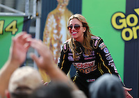 Mar 30, 2014; Las Vegas, NV, USA; NHRA top fuel driver Brittany Force during the Summitracing.com Nationals at The Strip at Las Vegas Motor Speedway. Mandatory Credit: Mark J. Rebilas-