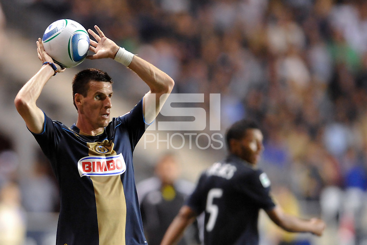 Sebastien Le Toux (9) of the Philadelphia Union on a throw in. The Philadelphia Union  and the Los Angeles Galaxy played to a 1-1 tie during a Major League Soccer (MLS) match at PPL Park in Chester, PA, on May 11, 2011.