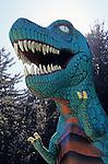 Prehistoric Gardens along the Oregon coast t-rex tyrannosaurus rex along tour trail Port Orford Oregon State USA.