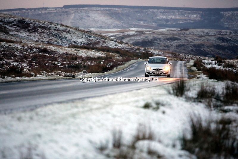 Pictured: A car travels on the A4059 in the Brecon Beacons, south Wales, UK.  Friday 08 December 2017<br /> Re: Snow and ice has been forecast for parts of the UK.