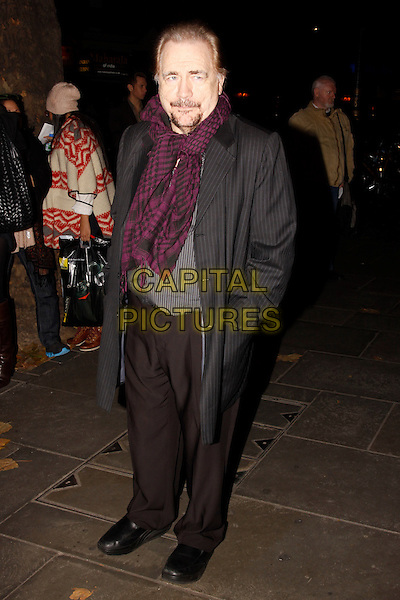 Brian Cox CBE..Chicago the musical press night, Garrick Theatre, London, England, UK, November 10th, 2011..full length purple black print scarf grey gray coat  pinstripe black trousers .CAP/AH.©Adam Houghton/Capital Pictures.