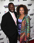 "Tamara Tunie & Guest pictured at the ""Magic/Bird"" Opening Night Arrivals at the Longacre Theatre in New York City on April 11, 2012 © Walter McBride / WM Photography  Ltd."