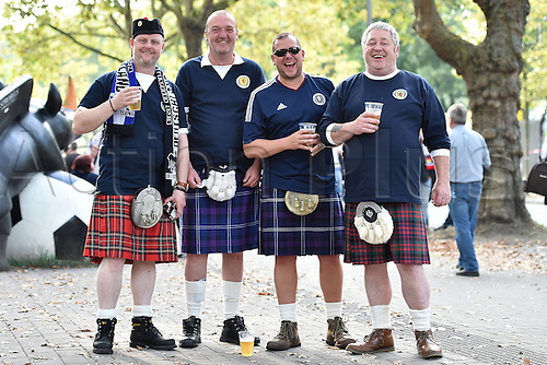 07.09.2014. Dortmund, Germany.   international match Germany Scotland  in Signal Iduna Park in Dortmund. Scottish supporters in kilts at Signal Iduna Park