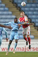 Fleetwood Town's Ashley Eastham jumps with  Coventry City's Amadou Bakayoko <br /> <br /> Photographer Mick Walker/CameraSport<br /> <br /> The EFL Sky Bet League One - Coventry City v Fleetwood Town - Tuesday 12th March 2019 - Ricoh Arena - Coventry<br /> <br /> World Copyright © 2019 CameraSport. All rights reserved. 43 Linden Ave. Countesthorpe. Leicester. England. LE8 5PG - Tel: +44 (0) 116 277 4147 - admin@camerasport.com - www.camerasport.com