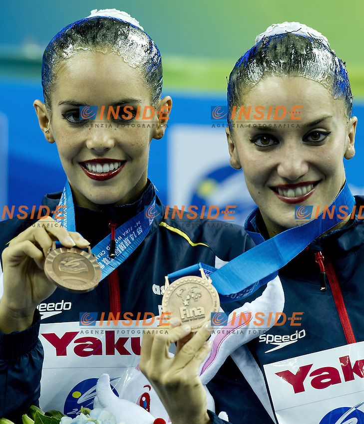 Shanghai ,  (CHN) 16-31 July 2001.XIV FINA Swimming World Championships.day 03.Duet Tech.Final Podium.Gold Russia.Silver China.Bronze Spain...Photo G.Scala/Insidefoto