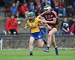 Laura Mc Grath of Clare in action against Molly Mannion of Galway during their Minor A All-Ireland final at Nenagh.  Photograph by John Kelly.
