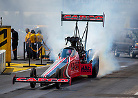 Jul 12, 2020; Clermont, Indiana, USA; NHRA top fuel driver Steve Torrence during the E3 Spark Plugs Nationals at Lucas Oil Raceway. This is the first race back for NHRA since the start of the COVID-19 global pandemic. Mandatory Credit: Mark J. Rebilas-USA TODAY Sports