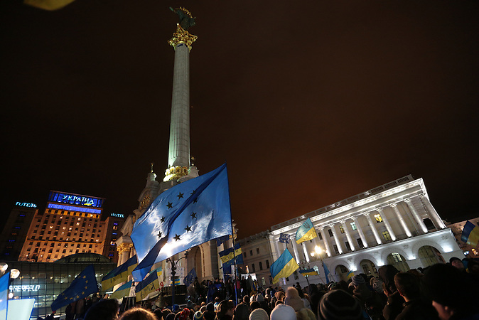View of the Maidan Nezalezhnosti (Independence Square) during the EuroMaidan rally  on the night of Nov. 26.