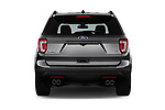 Straight rear view of a 2018 Ford Explorer Sport 5 Door SUV stock images