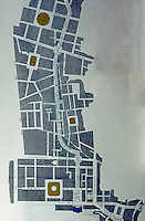 London: Regent St., Map 1814. Carleton House, blue, at bottom.Reference only.
