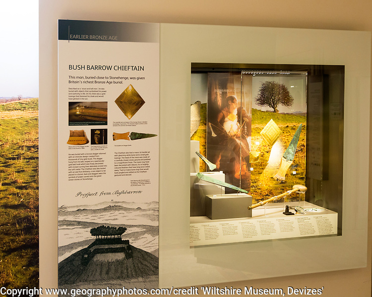 Display of objects excavated from the burial of the Bush Barrow Chieftain. With permission of Wiltshire Museum, Devizes, England, UK
