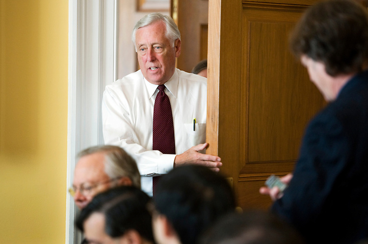 UNITED STATES - SEPTEMBER 21:  House Majority Leader Steny Hoyer, D-Md., arrives at his weekly pen and pad briefing. (Photo By Tom Williams/Roll Call via Getty Images)
