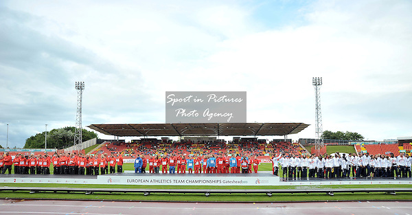 The victory ceremony. The teams on the podium. Day 2. European Team Athletics Championships. Gateshead. Tyne and Wear. UK. 23/06/2013. <br />  MANDATORY Credit Garry Bowden/SIPPA - NO UNAUTHORISED USE - 07837 394578