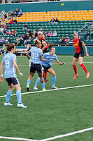 Rochester, NY - May 21, 2016: Western New York Flash forward Jessica McDonald (14) and Tasha Kai (32) during a National Women's Soccer League (NWSL) match at Sahlen's Stadium. The Western New York Flash go on to win 5-2.
