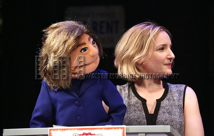 "Hillary Clinton Puppet during the cast of ""Avenue Q"" Hosts Town Hall With A Debate Between Puppets Hillary Clinton, ""I'm with Fur"" played by Maggie Lakis & Donald Trump, ""Make Puppets Great Again"" played by Rob McClure at the New World Stages on September 26, 2016 in New York City."