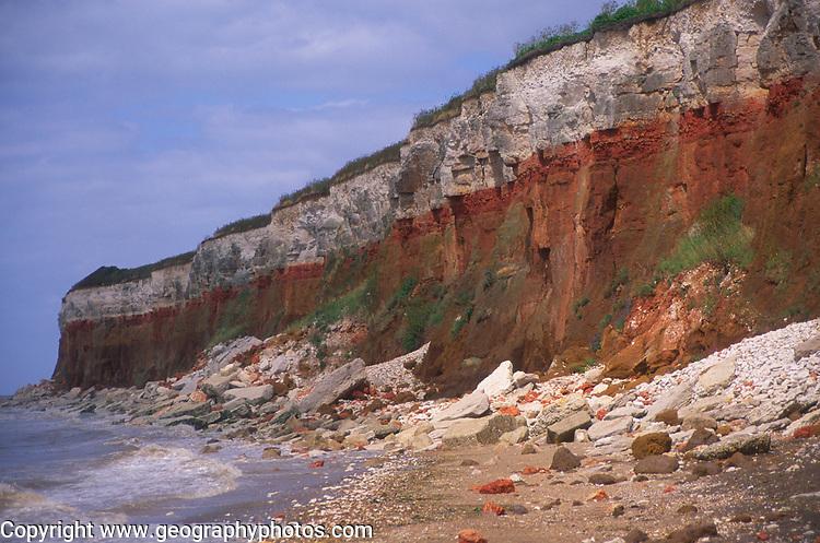 AE2KPF Cliffs of striped sedimentary rock at Hunstanton Norfolk England