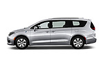 Car Driver side profile view of a 2017 Chrysler Pacifica-Hybrid Platinum 5 Door Minivan Side View