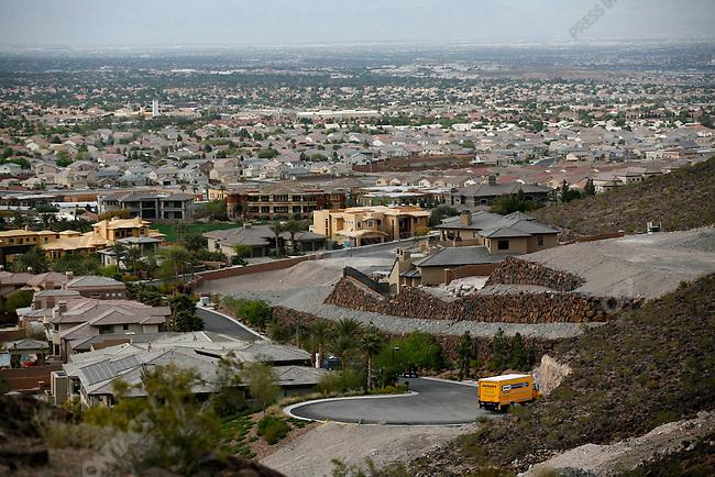 Luxury homes under construction, McDonald Highlands, Henderson suburb of Las Vegas, Nevada, USA, April 8, 2008
