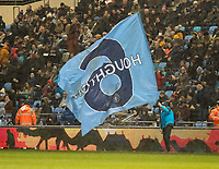 11th January 2020; Academy Stadium, Manchester, Lancashire, England; The FAs Women's Super League, Manchester City Women versus Everton Women; Manchester City fly the flag for their captain Stech Houghton  before the game against Everton as rain falls heavily  - Editorial Use
