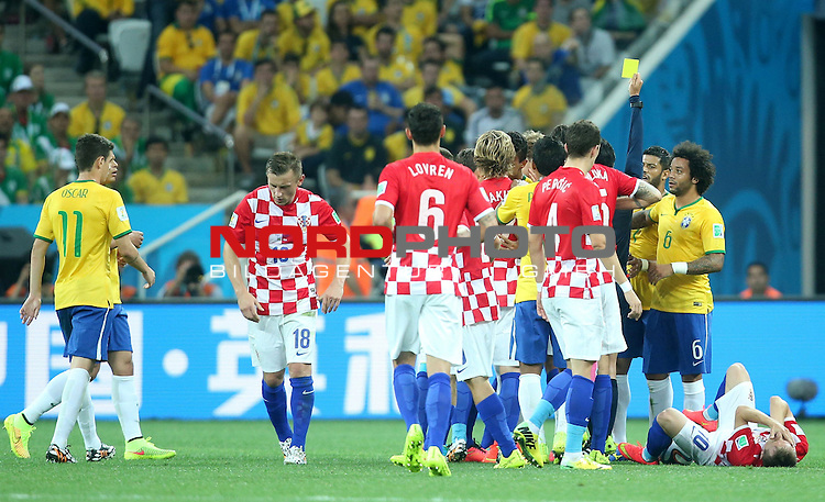 2014 Fifa World Cup opening game from group A against Brazil and Croatia.<br /> Yellow card<br /> <br /> Foto &copy;  nph / PIXSELL / Sajin Strukic
