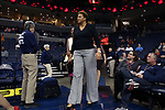 CHARLOTTESVILLE, VA - FEBRUARY 15: Notre Dame assistant coach Carol Owens. The University of Virginia Cavaliers hosted the University of Notre Dame Fighting Irish on February 15, 2018 at John Paul Jones Arena in Charlottesville, VA in a Division I women's college basketball game. Notre Dame won the game 83-69.