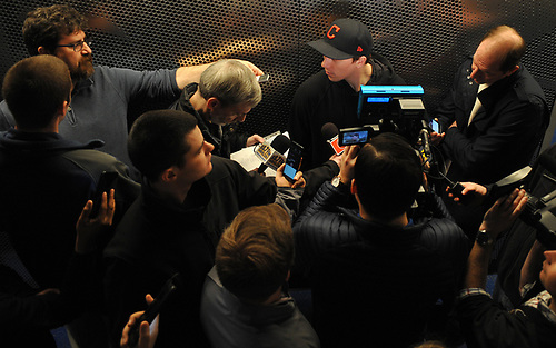 Tanner Fritz speaks with the media after New York Islanders player exit interviews at Northwell Health Ice Center in East Meadow on Sunday, April 8, 2018.