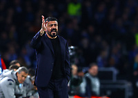25th February 2020; Stadio San Paolo, Naples, Campania, Italy; UEFA Champions League Football, Napoli versus Barcelona; Gennaro Gattuso coach of Napoli gets animated on the sideline