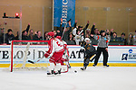ADRIAN, MI - MARCH 18: Kortney Diaz (28) of Adrian College celebrates after an Adrian goal in the Division III Women's Ice Hockey Championship held at Arrington Ice Arena on March 19, 2017 in Adrian, Michigan. Plattsburgh State defeated Adrian 4-3 in overtime to repeat as national champions for the fourth consecutive year. by Tony Ding/NCAA Photos via Getty Images)