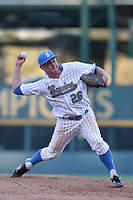 David Berg (26) of the UCLA Bruins pitches during a game against the Hofstra Pride at Jackie Robinson Stadium on March 14, 2015 in Los Angeles, California. UCLA defeated Hofstra, 18-1. (Larry Goren/Four Seam Images)