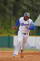 Myrtle Beach Pelicans first baseman Yasiel Balaguert  (12) running the bases during a game against the Frederick Keys at Ticketreturn.com Field at Pelicans Ballpark on April 10, 2016 in Myrtle Beach, South Carolina. Myrtle Beach defeated Frederick 7-5. (Robert Gurganus/Four Seam Images)