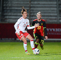 20161128 - TUBIZE ,  BELGIUM : Belgian Laura Deloose (R) and Danish Katrine Veje (L) pictured during the female soccer game between the Belgian Red Flames and Denmark , a friendly game before the European Championship in The Netherlands 2017  , Monday 28 th November 2016 at Stade Leburton in Tubize , Belgium. PHOTO SPORTPIX.BE | DIRK VUYLSTEKE