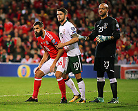 (L-R) Joe Ledley of Wales waits for a corner kick against Robbie Brady and Darren Randolph of Ireland during the FIFA World Cup Qualifier Group D match between Wales and Republic of Ireland at The Cardiff City Stadium, Wales, UK. Monday 09 October 2017