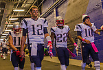 12 October 2014: New England Patriots quarterback Tom Brady leads the way from the locker room to the field prior to facing the Buffalo Bills at Ralph Wilson Stadium in Orchard Park, NY. The Patriots defeated the Bills 37-22 to move into first place in the AFC Eastern Division. Mandatory Credit: Ed Wolfstein Photo *** RAW (NEF) Image File Available ***