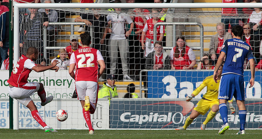 Rotherham United's Vadis Odjidja-Ofoe scores his sides first goal from the penalty spot (1-0)<br /> <br /> Photographer David Shipman/CameraSport<br /> <br /> Football - The Football League Sky Bet Championship - Rotherham United v Cardiff City - Saturday 19th September 2015 - AESSEAL New York Stadium - Rotherham<br /> <br /> &copy; CameraSport - 43 Linden Ave. Countesthorpe. Leicester. England. LE8 5PG - Tel: +44 (0) 116 277 4147 - admin@camerasport.com - www.camerasport.com