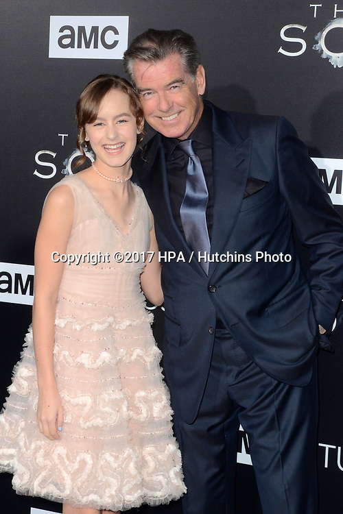 "LOS ANGELES - APR 3:  Sydney Lucas, Pierce Brosnan at the AMC's ""The Son"" Season One LA Premiere at ArcLight Theater on April 3, 2017 in Los Angeles, CA"