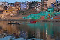 Early morning view towards the banks of the Ganges River, Varanasi, India