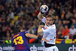 VELUX EHF 2017/18 EHF Men's Champions League Group Phase - Round 11.<br /> FC Barcelona Lassa vs HC Vardar: 29-28.<br /> Aitor Ari&ntilde;o vs Luka Cindric.