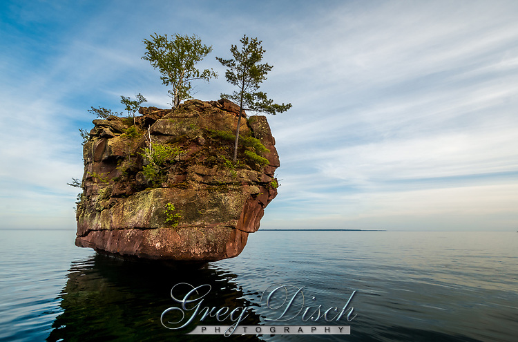 Balancing Rock is the largest sea stack along the northeast shore of Stockton Island in the Apostle Islands National Lakeshore near Bayfield Wisconsin.
