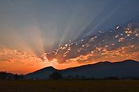 Sunburst sunrise near Oakley, Utah. August 2012.