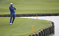 Lee Westwood (Team Europe Vice-Captain) pissing himself laughing at the 18th during Sunday's Singles, at the Ryder Cup, Le Golf National, Île-de-France, France. 30/09/2018.<br /> Picture David Lloyd / Golffile.ie<br /> <br /> All photo usage must carry mandatory copyright credit (© Golffile | David Lloyd)
