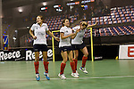 Berlin, Germany, February 01: Players of Duesseldorfer HC celebrate after defeating HTC Uhlenhorst Muehlheim 4-1 to win the Deutsche Meisterschaft on February 1, 2015 at the Final Four tournament at Max-Schmeling-Halle in Berlin, Germany. Final score 4-1 (1-0). (Photo by Dirk Markgraf / www.265-images.com) *** Local caption *** (L-R) Darja Moellenberg #11 of Duesseldorfer HC, Tessa Schubert #28 of Duesseldorfer HC, Jenny Froehlich #8 of Duesseldorfer HC