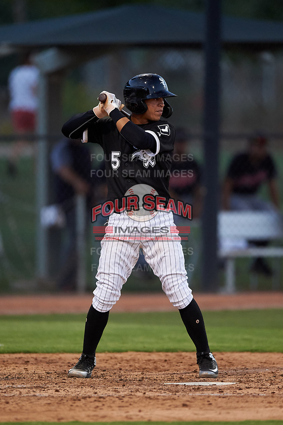 AZL White Sox Jose Rodriguez (5) at bat during an Arizona League game against the AZL Indians Blue on July 2, 2019 at Camelback Ranch in Glendale, Arizona. The AZL Indians Blue defeated the AZL White Sox 10-8. (Zachary Lucy/Four Seam Images)