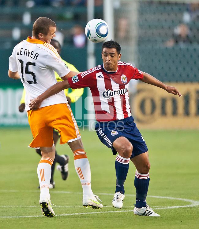 CARSON, CA – July 23, 2011: Chivas USA defender Ante Jazic (13) during the match between Chivas USA and Houston Dynamo at the Home Depot Center in Carson, California. Final score Chivas USA 3, Houston Dynamo 0.
