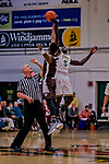 18 December 2018: University of Vermont Forward Samuel Dingba, a Redshirt Senior from Yaounde, Cameroon, wins the opening tip-off to start play against the St. Bonaventure University Bonnies at Patrick Gymnasium in Burlington, Vermont. The Catamounts defeated the Bonnies 83-76 in a double-overtime NCAA DI thriller. Mandatory Credit: Ed Wolfstein Photo *** RAW (NEF) Image File Available ***