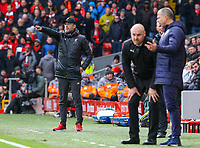 Liverpool manager Jürgen Klopp shouts instructions to his team from the technical area<br /> <br /> Photographer Alex Dodd/CameraSport<br /> <br /> The Premier League - Liverpool v Burnley - Sunday 10th March 2019 - Anfield - Liverpool<br /> <br /> World Copyright © 2019 CameraSport. All rights reserved. 43 Linden Ave. Countesthorpe. Leicester. England. LE8 5PG - Tel: +44 (0) 116 277 4147 - admin@camerasport.com - www.camerasport.com