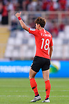 Hwang Uijo of South Korea celebrates scoring the team's first goal during the AFC Asian Cup UAE 2019 Group C match between South Korea (KOR) and China (CHN)  at Al Nahyan Stadium on 16 January 2019 in Abu Dhabi, United Arab Emirates. Photo by Marcio Rodrigo Machado / Power Sport Images