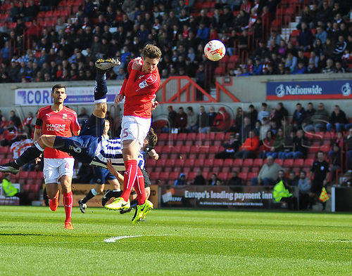 March 25th 2017, County Ground, Swindon, Wiltshire, England; Skybet league 1 football, Swindon Town versus Millwall; Lee Gregory, forward for Millwall attempts an overhead shot