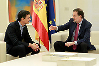 Mariano Rajoy, meets with the Secretary General of the PSOE, Pedro Sanchez.