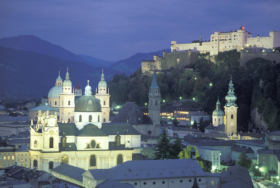 Old Town Salzburg at twilight, Salzburg, Austria